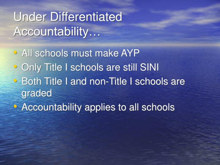 Under Differentiated Accountability…