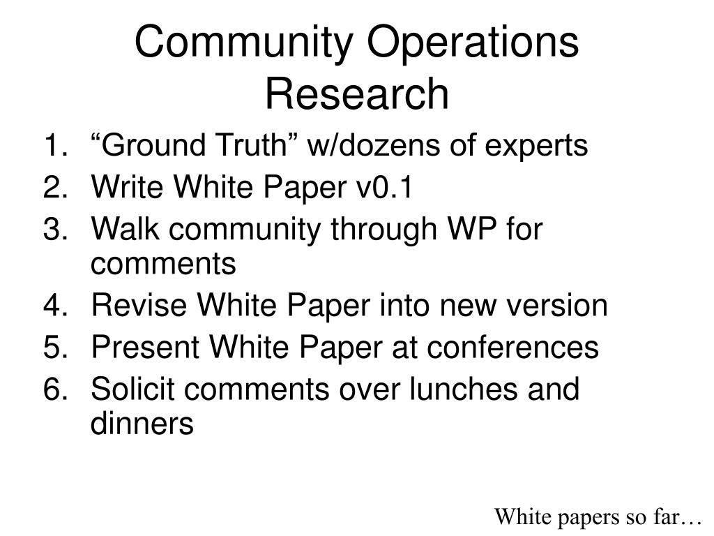 Community Operations Research