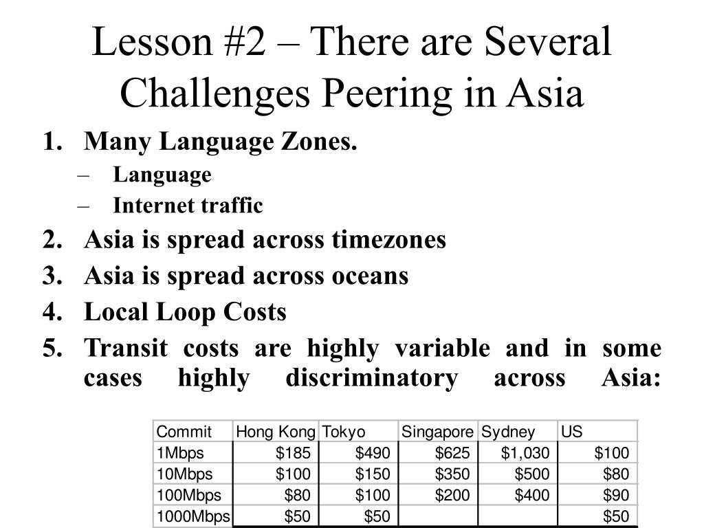 Lesson #2 – There are Several Challenges Peering in Asia