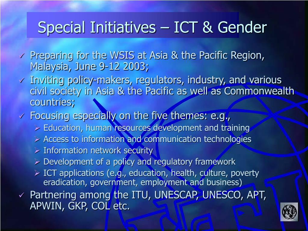 Special Initiatives – ICT & Gender