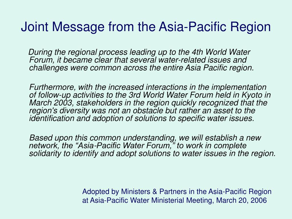 Joint Message from the Asia-Pacific Region