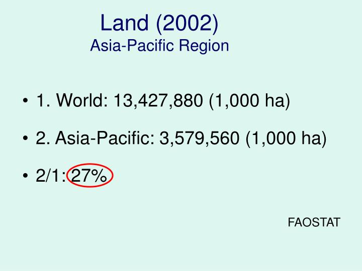 Land 2002 asia pacific region
