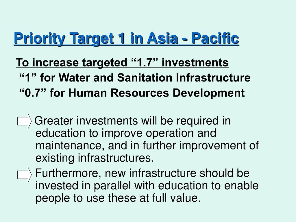 Priority Target 1 in Asia - Pacific