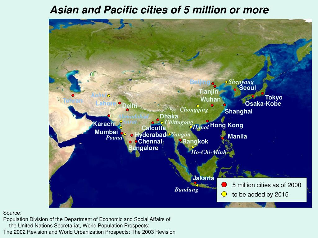 Asian and Pacific cities of 5 million or more