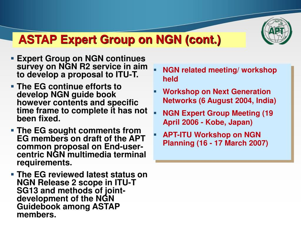 Expert Group on NGN continues survey on NGN R2 service in aim to develop a proposal to ITU-T.