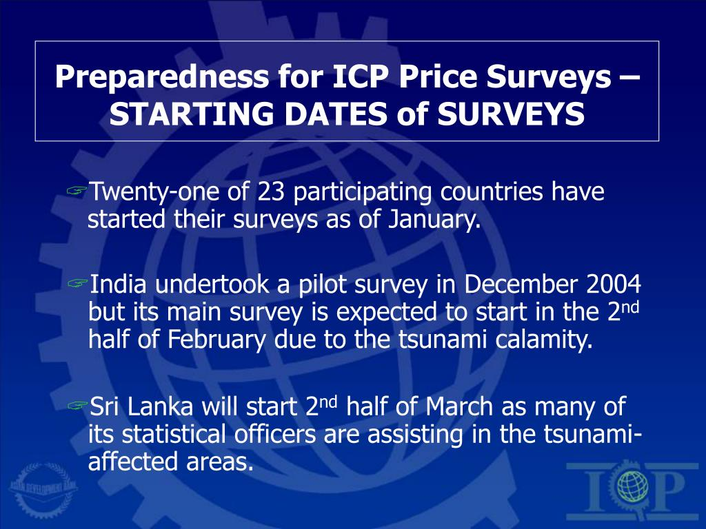 Preparedness for ICP Price Surveys – STARTING DATES of SURVEYS