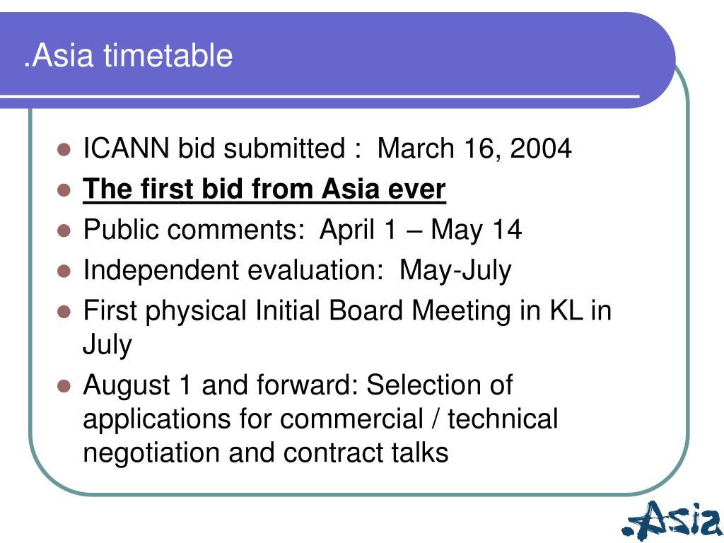.Asia timetable
