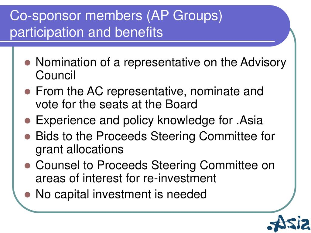 Co-sponsor members (AP Groups)  participation and benefits