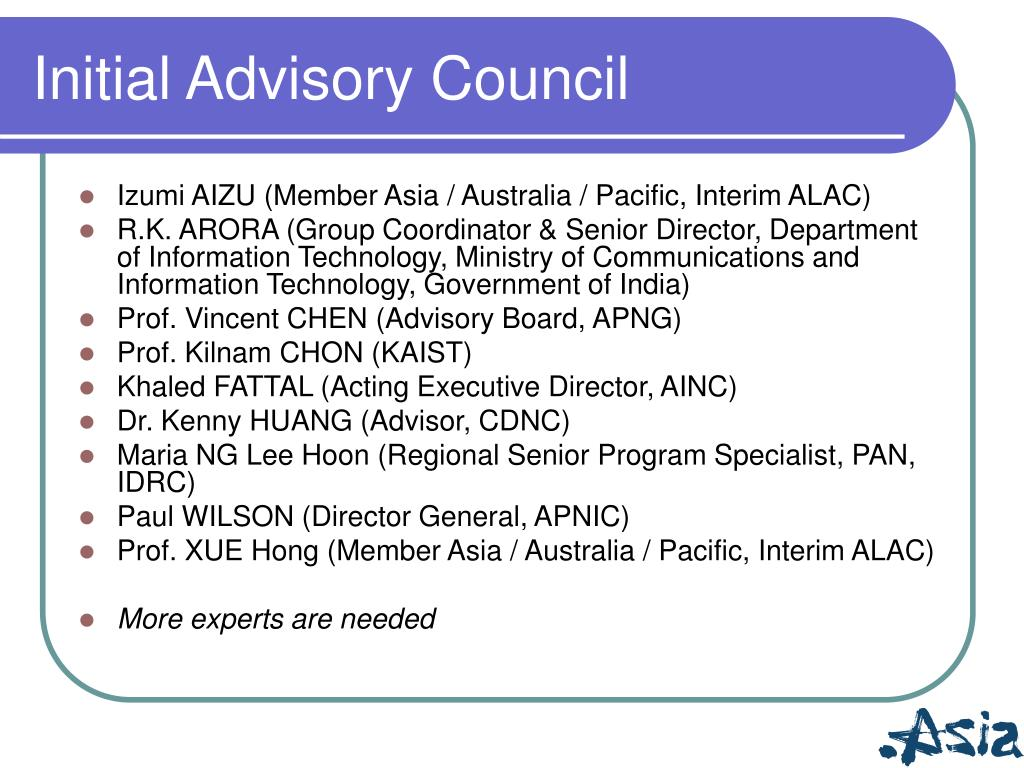 Initial Advisory Council