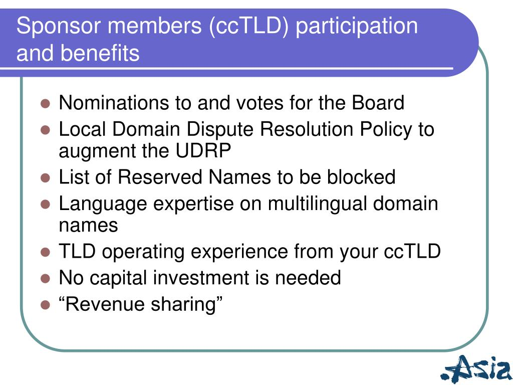 Sponsor members (ccTLD) participation and benefits