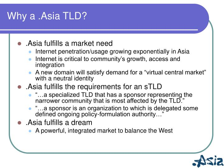 Why a asia tld