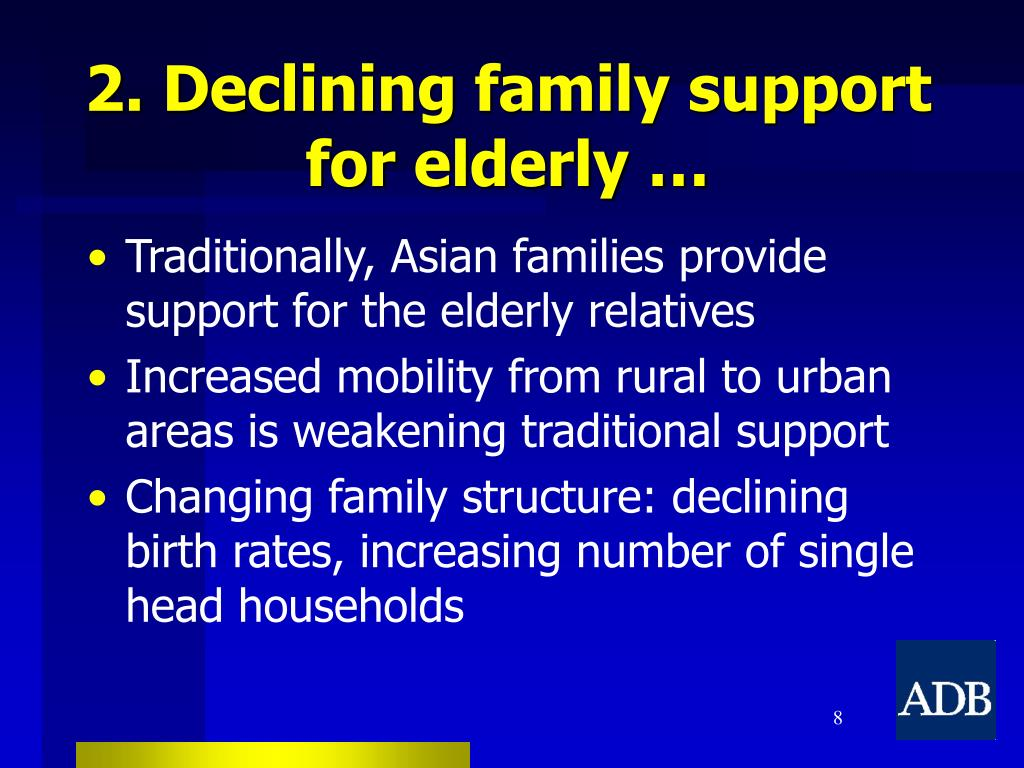 2. Declining family support for elderly …