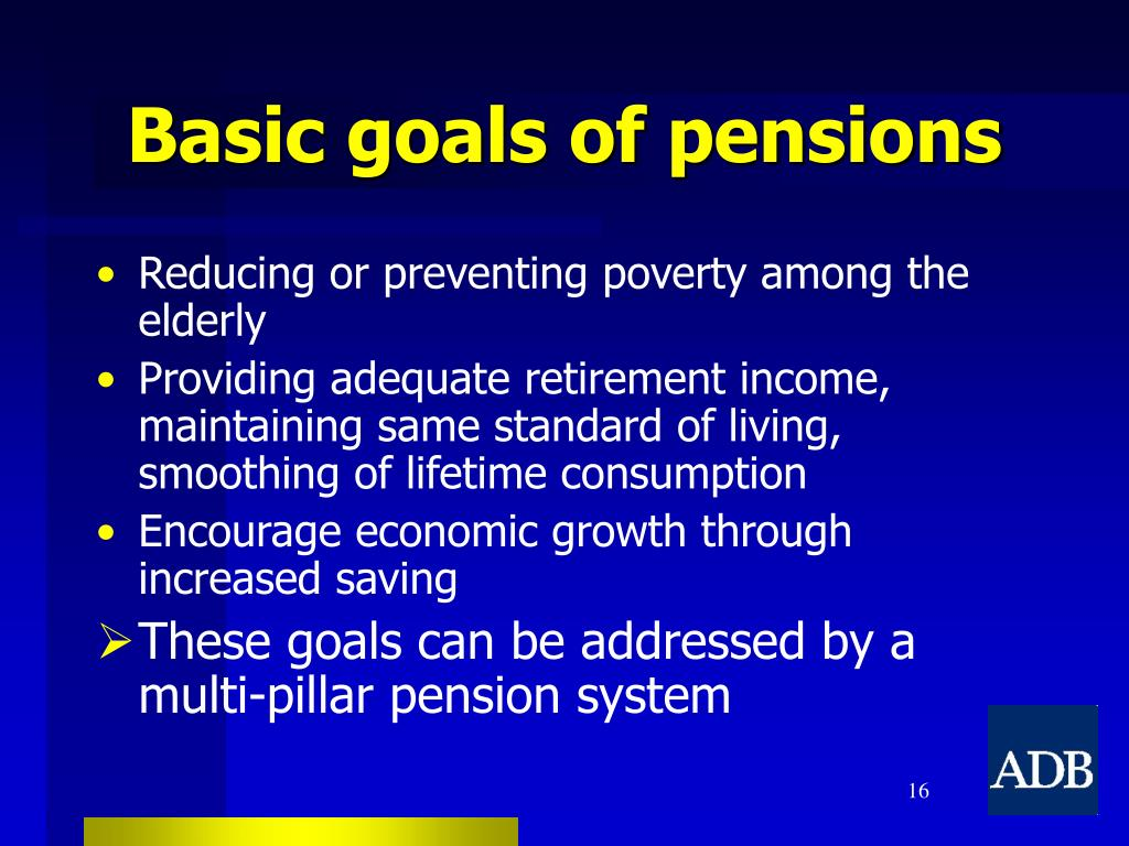 Basic goals of pensions