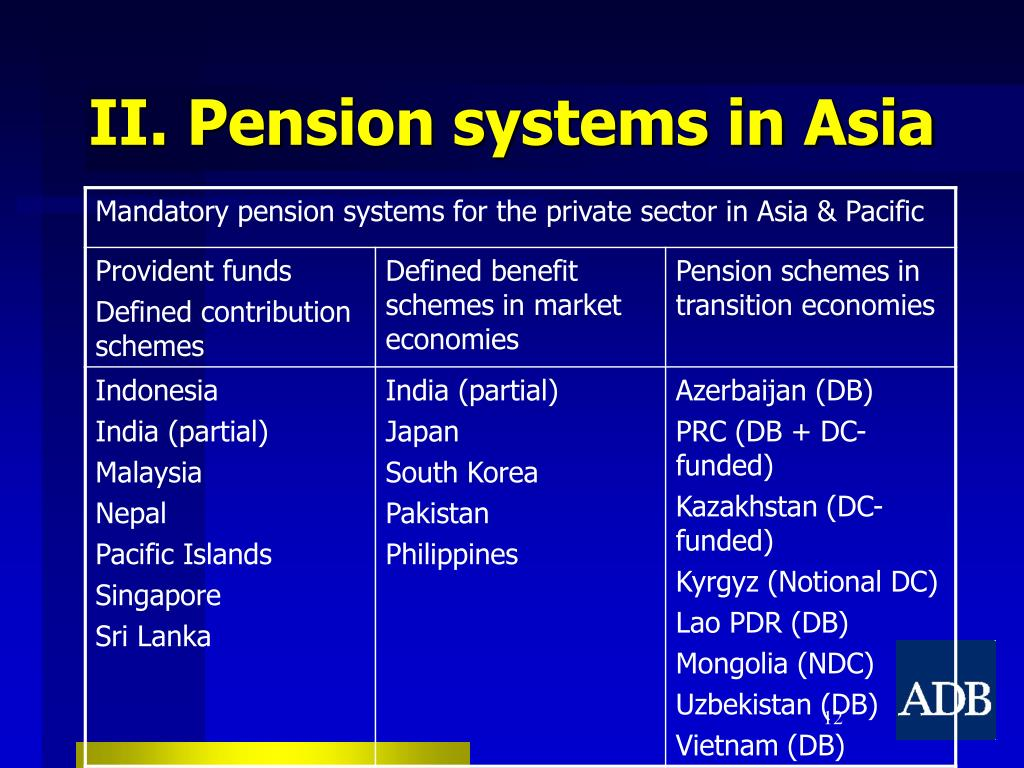 II. Pension systems in Asia