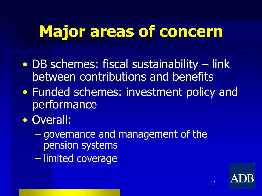 Major areas of concern
