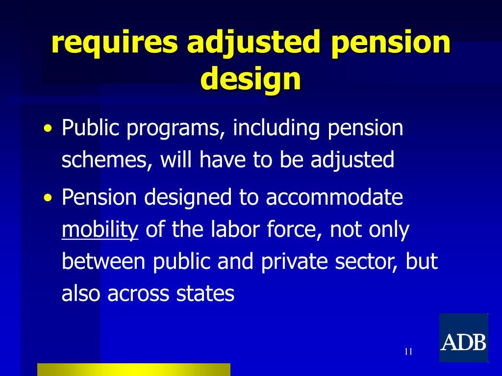 requires adjusted pension design