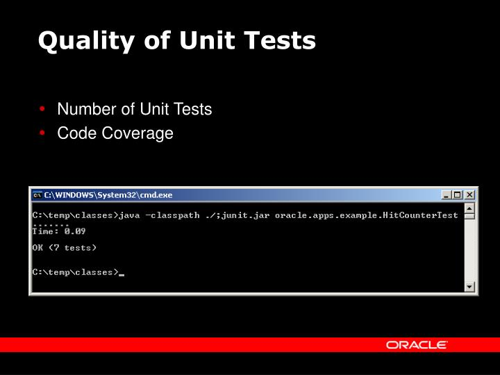 Quality of Unit Tests
