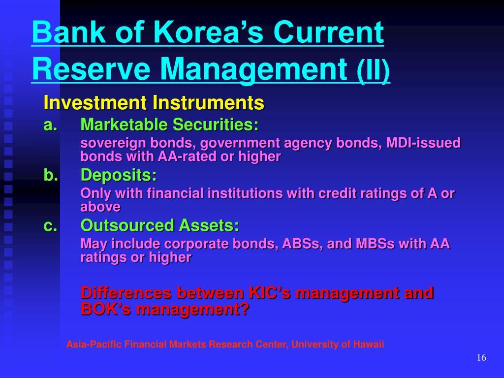 Bank of Korea's Current Reserve Management