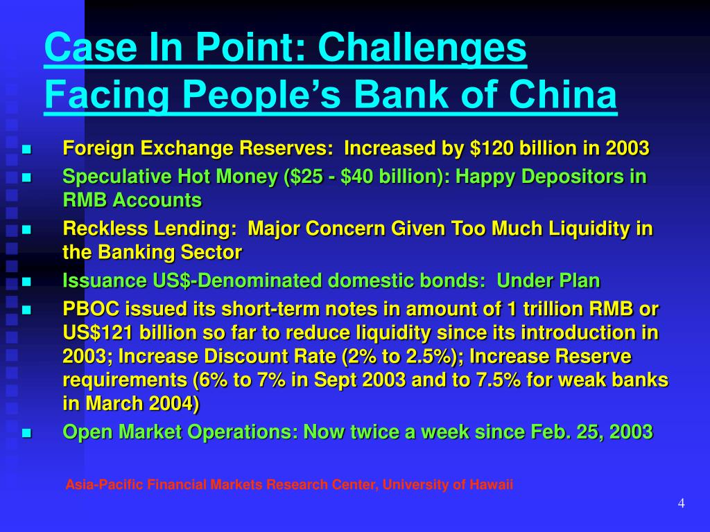 Case In Point: Challenges Facing People's Bank of China