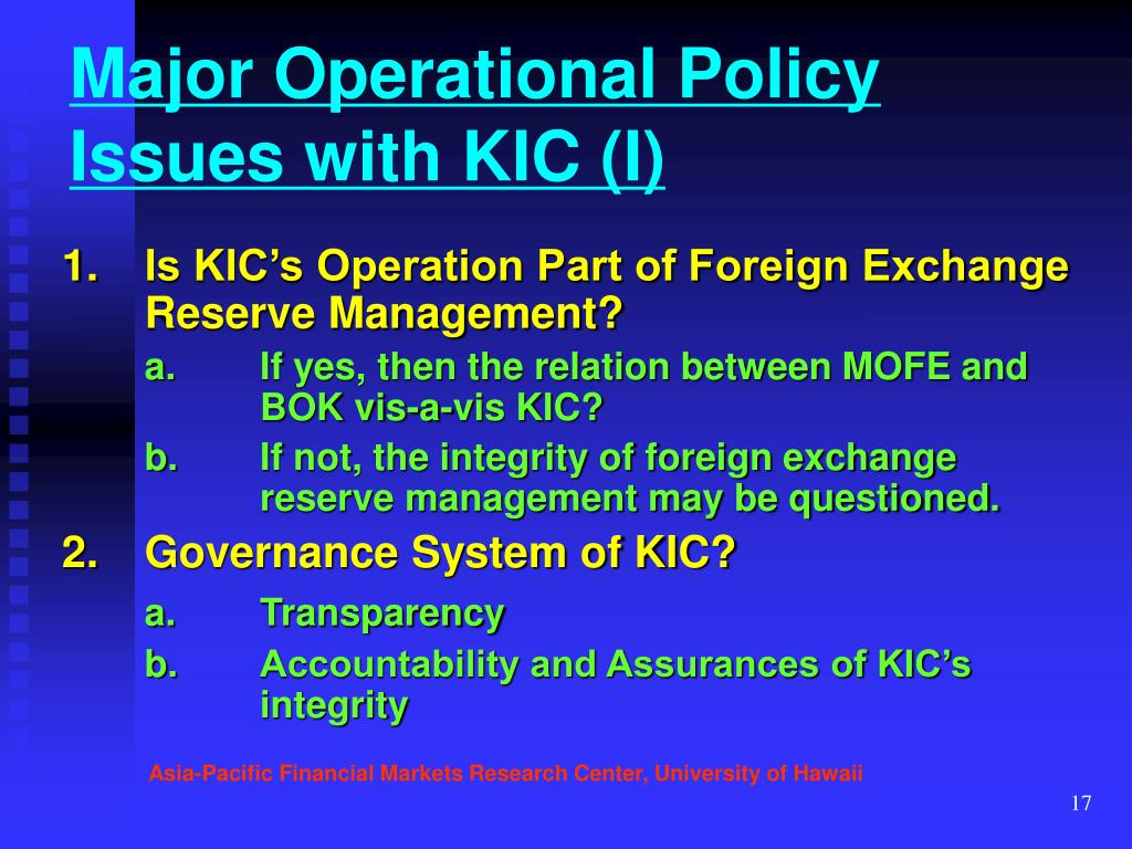Major Operational Policy Issues with KIC (I)