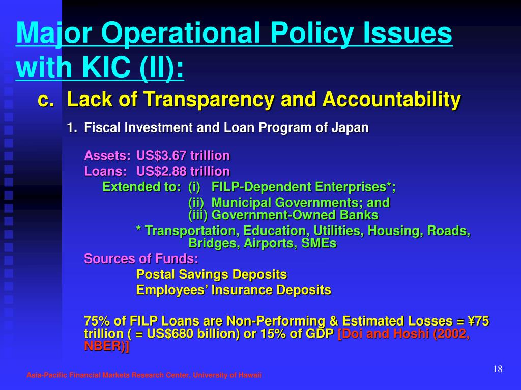 Major Operational Policy Issues with KIC (II):