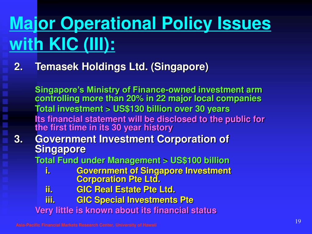 Major Operational Policy Issues with KIC (III):