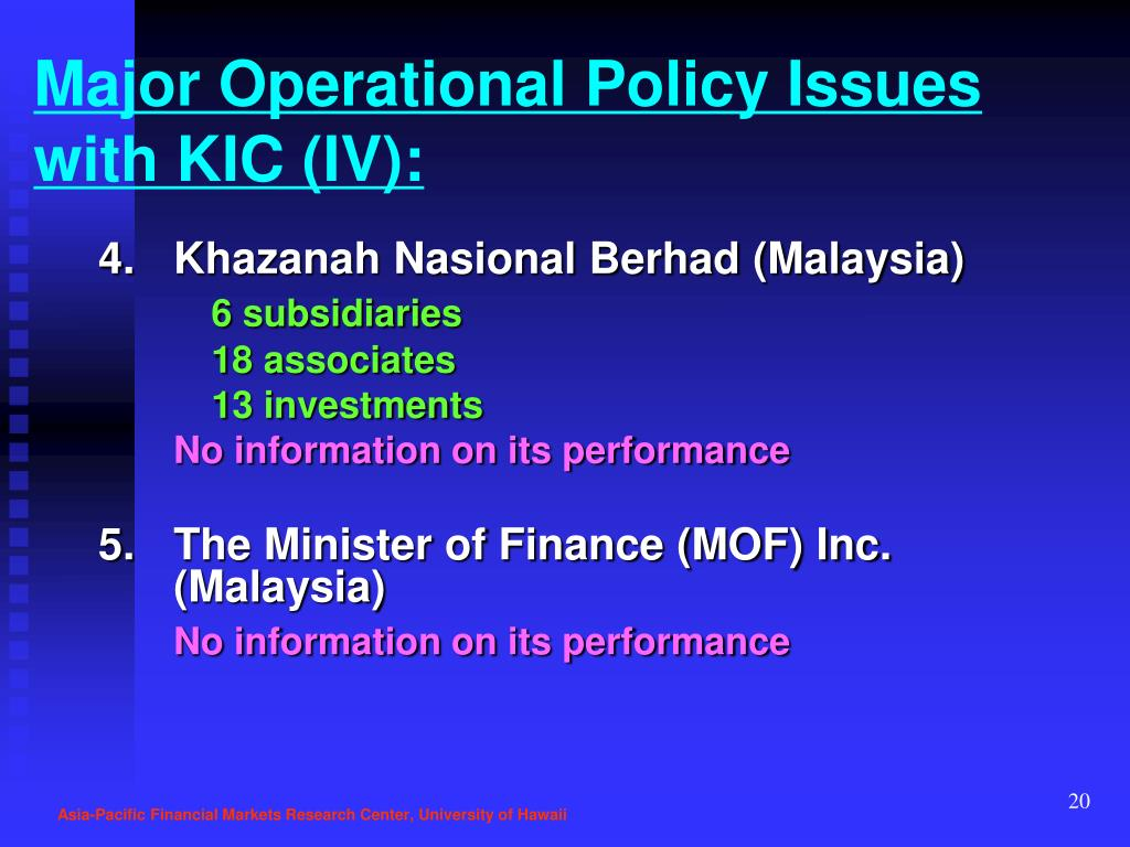 Major Operational Policy Issues with KIC (IV):