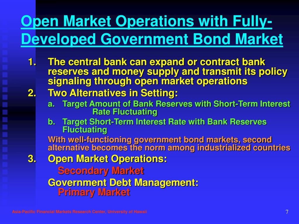 Open Market Operations with Fully-Developed Government Bond Market