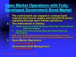 open market operations with fully developed government bond market