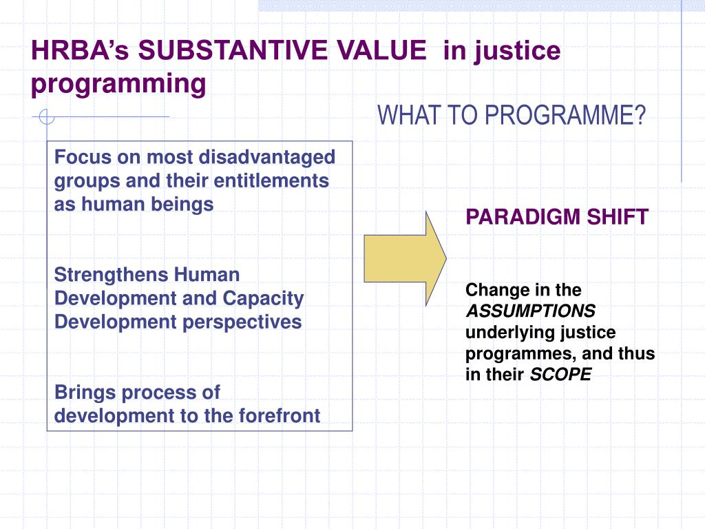 HRBA's SUBSTANTIVE VALUE  in justice programming