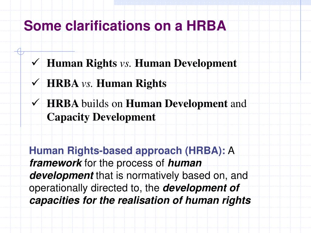 Some clarifications on a HRBA