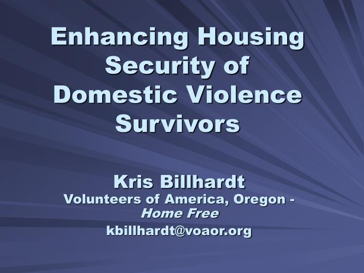 Enhancing housing security of domestic violence survivors