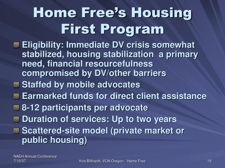 Home Free's Housing First Program