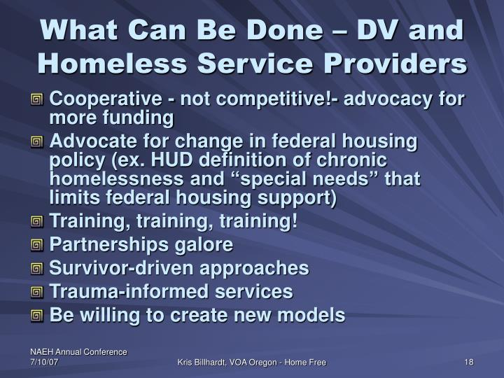 What Can Be Done – DV and Homeless Service Providers