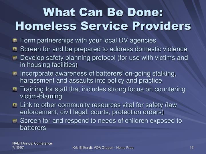 What Can Be Done: Homeless Service Providers