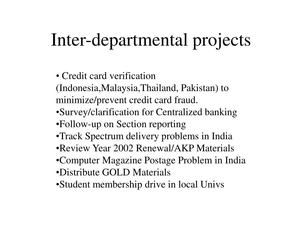 Inter-departmental projects