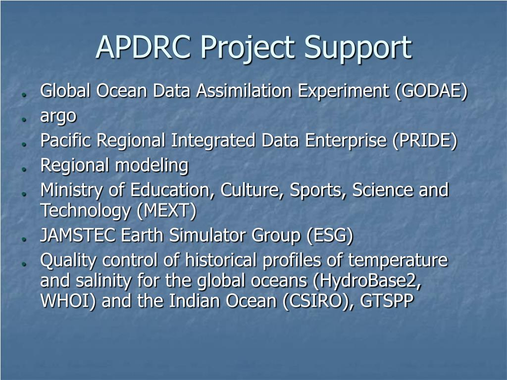 APDRC Project Support