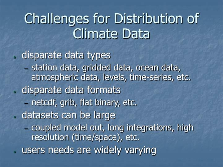 Challenges for distribution of climate data