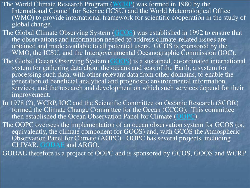 The World Climate Research Program (