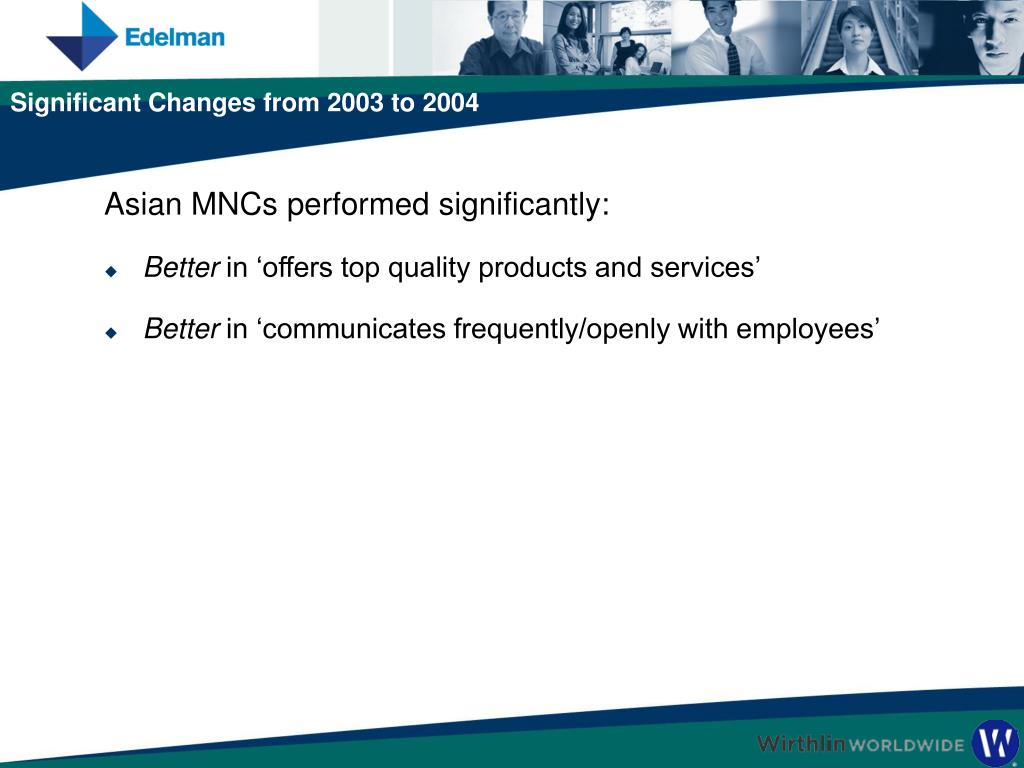 Asian MNCs performed significantly: