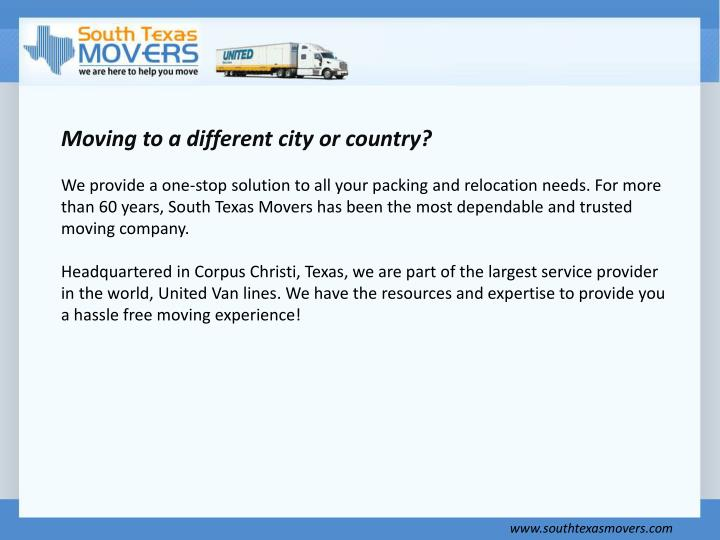 Moving to a different city or country?