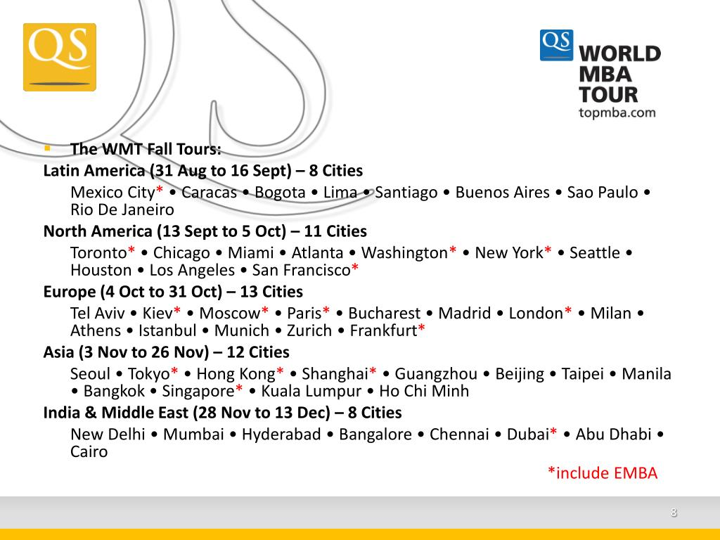 The WMT Fall Tours: