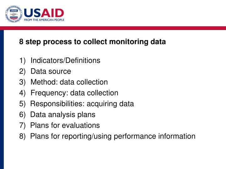 8 step process to collect monitoring data