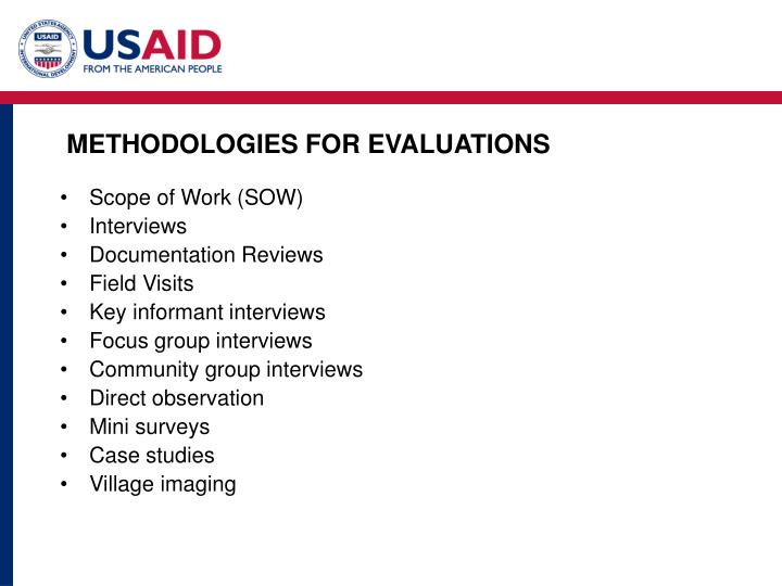 METHODOLOGIES FOR EVALUATIONS