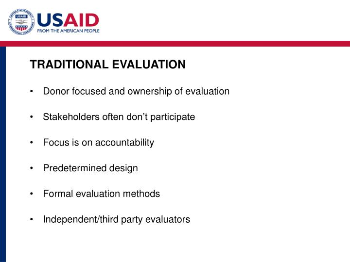 TRADITIONAL EVALUATION
