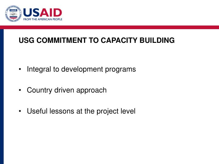 Usg commitment to capacity building