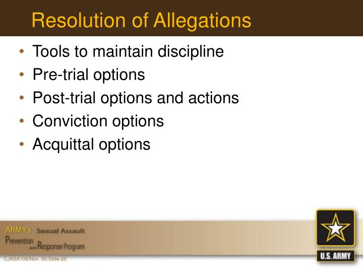 Resolution of Allegations