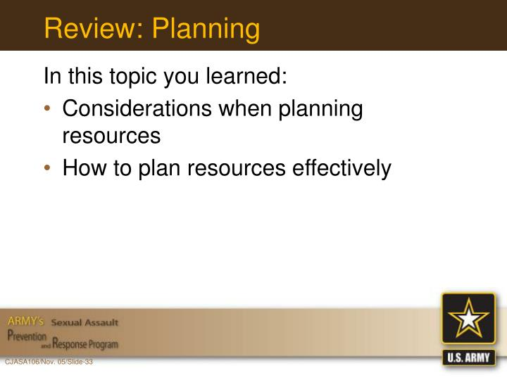 Review: Planning