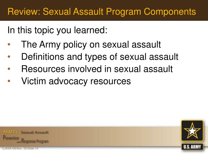 Review: Sexual Assault Program Components