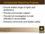 unrestricted reporting purpose